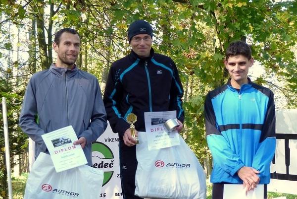 Vítězové 52. Běhu Šeptouchovem zleva : Rudolf Jun ( SK Chotěboř), Jiří Brychta (ČS Havl. Brod), David Konůpek ( Turbo Chotěboř)